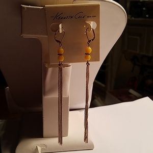 Kenneth Cole yellow beads gold chain earrings